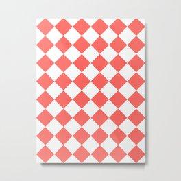Large Diamonds - White and Pastel Red Metal Print