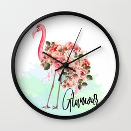 Pink flamingo with roses. Tropical design Wall Clock