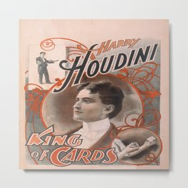 Vintage poster - Harry Houdini, King of Cards Metal Print