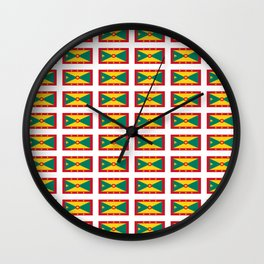 flag of grenada -grenadian,grenadines,Saint georges,grenville,Gouyave,Carriacou,nutmeg Wall Clock