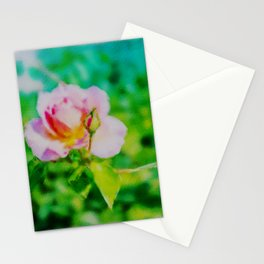 A pale pink rose watercolor Stationery Cards