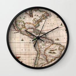 North & South America map 1658 with 2017 enhancements Wall Clock
