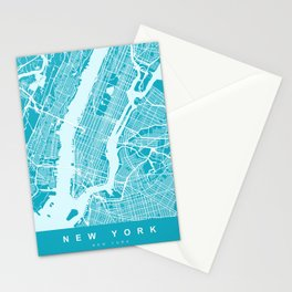 New York Map | Blue & Cyan | More Colors, Review My Collections Stationery Cards