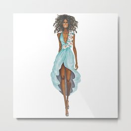 GIRL - Negress Lady In TURQUOISE - watercolor Metal Print