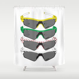 Tour de France Glasses Shower Curtain