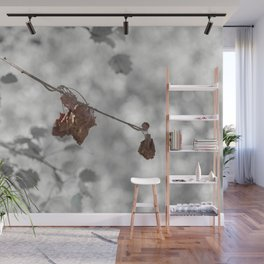 black and white branch of autumnal tree Wall Mural