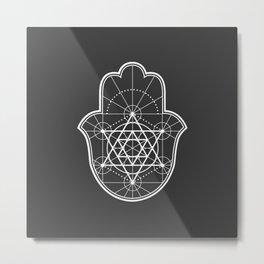 Sacred Geometry Hamsa Metal Print