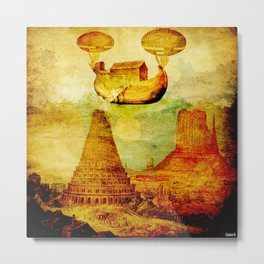The Noah's Ark arrives on the tower of Babel Metal Print