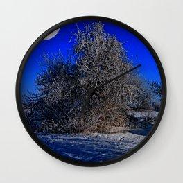 snow and moon Wall Clock