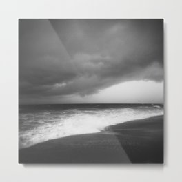 Black Storm Clouds Over the Ocean in the Outer Banks - Black and White Film Photograph Metal Print