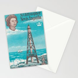Sombrero light house, Nevis Anguilla british post stamp Stationery Cards
