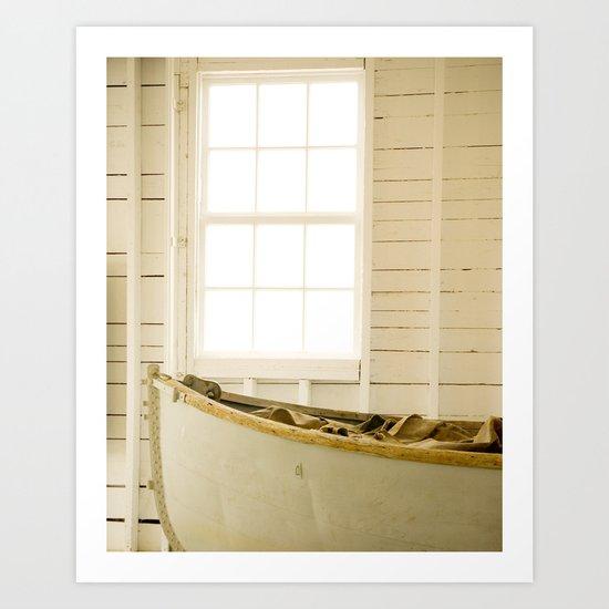 Boathouse Nautical Vintage Boat Yellow Gold White Art Print