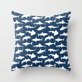 Sharks on Regal Blue Throw Pillow