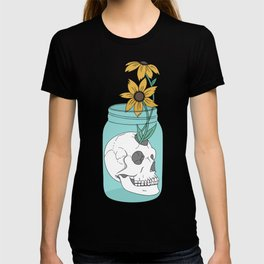Skull in Jar with Flowers T-shirt