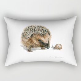 """Close Encounter"" painting of a Hedgehog and Snail by Teresa Thompson Rectangular Pillow"
