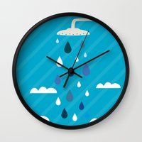 shower Wall Clocks featuring shower  by mark ashkenazi