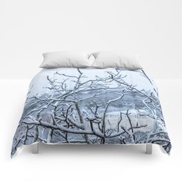Winter snowy branches Comforters
