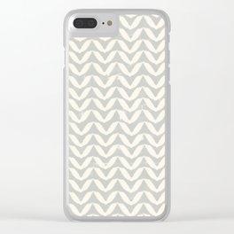 Herringbone-Gray Clear iPhone Case