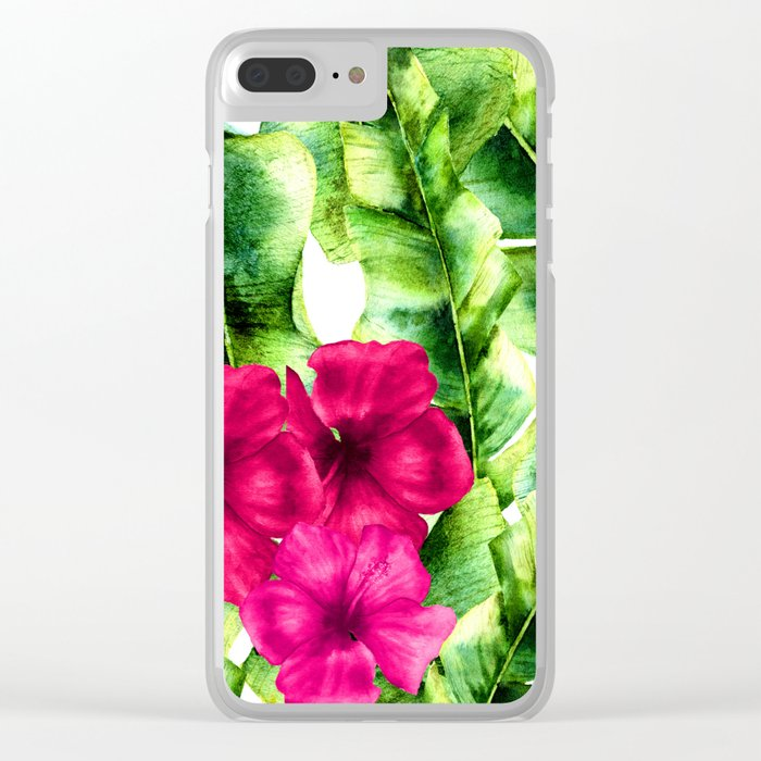 green banana palm leaves and pink flowers Clear iPhone Case