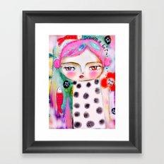Dream a bit...every day! pink hair girl fish flowers Framed Art Print
