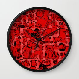 Pup Party Red Gingham Wall Clock