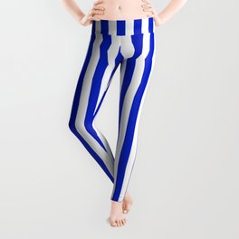 Cobalt Blue and White Vertical Deck Chair Stripe Leggings