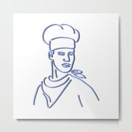 Chef Looking to Side Neon Sign Metal Print