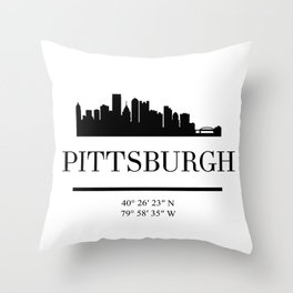 PITTSBURGH PENNSYLVANIA BLACK SILHOUETTE SKYLINE ART Throw Pillow