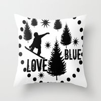 snowboard Throw Pillows featuring Forest Snowboard Love Blue by Patti Friday