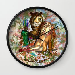 Female wood elf druid with a tiger for dnd fans Wall Clock