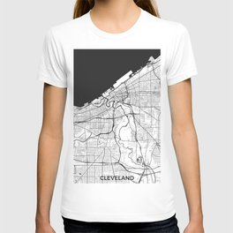 Cleveland Map Gray T-shirt