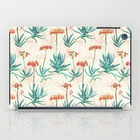 50s iPad Cases featuring Flowering Succulent Pattern in Cream, Coral and Green by micklyn