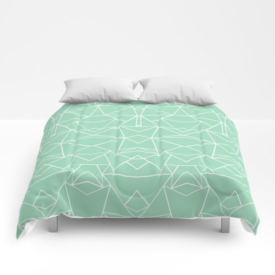 Abstract Mirror Mint Comforters