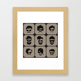 mustache, beard and hairstyle hipster Framed Art Print