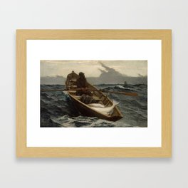 The Fog Warning / Halibut Fishing by Winslow Homer Framed Art Print