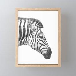 Black and White Zebra Profile Framed Mini Art Print