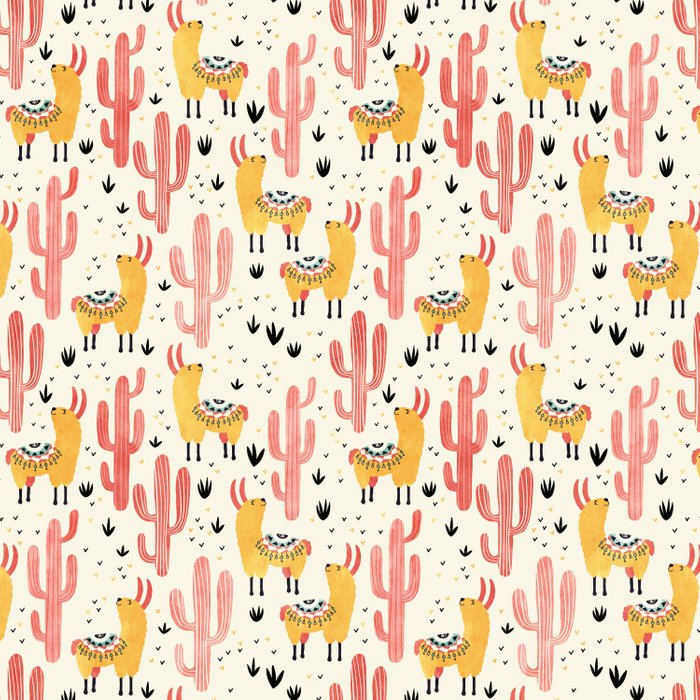 Yellow Llamas Red Cacti Comforters