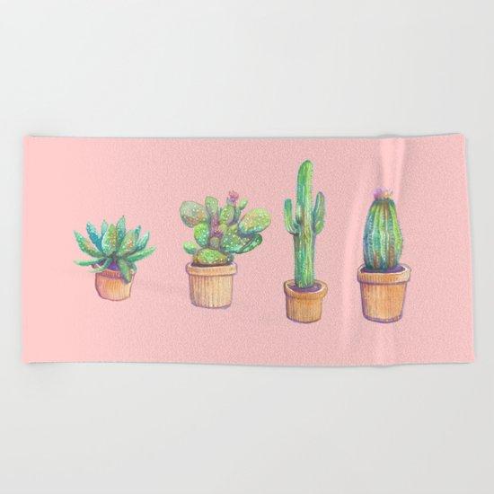 pink four cactus Beach Towel