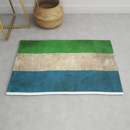 Old and Worn Distressed Vintage Flag of Sierra Leone Rug