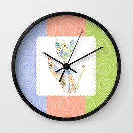 Sweet Hugs & Kisses, 3 color stripes  Wall Clock