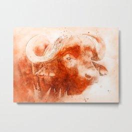 Buffalo, Watercolor Metal Print