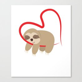 Dear Valentine's Day Sloth Sweet Cute Gift Canvas Print