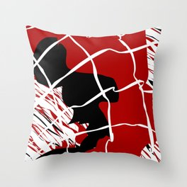 Black Red Net Cages and Splatter Abstract Art Throw Pillow