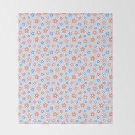 Blue Pink Flower Pattern Throw Blanket