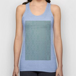 Simply Mid-Century in White Gold Sands and Pastel Cactus Green Unisex Tank Top
