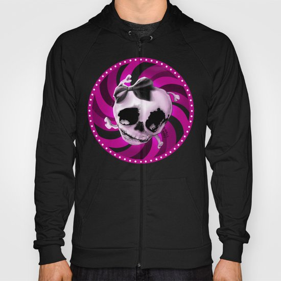 Girly Pink Skull with Black Bow Hoody