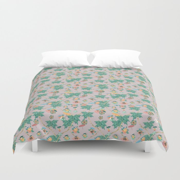 Dusty pink tropical drinks Duvet Cover