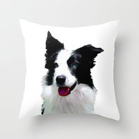 border collie Throw Pillows featuring Border Collie by Albert Tjandra