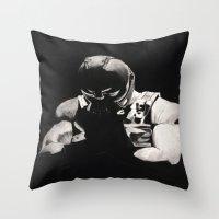 bane Throw Pillows featuring Bane by a vitruvian man