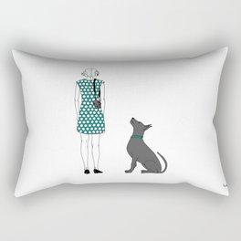 Photographer girl and dog Rectangular Pillow
